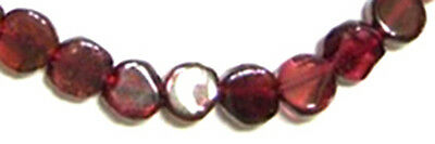 Half Strand (17 Cm) Of Garnet Flat Coin / Disc Beads, 6 Mm, Gemstone