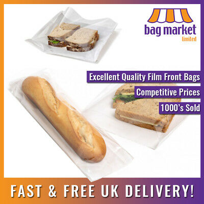 Film Front White Paper Bags! | Cellophane/Window/Fronted/Sandwich/Food/Card/Cake