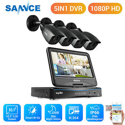 SANNCE 4CH 1080N DVR 10.1'' LCD Monitor 1080P Outdoor IR Security Camera System
