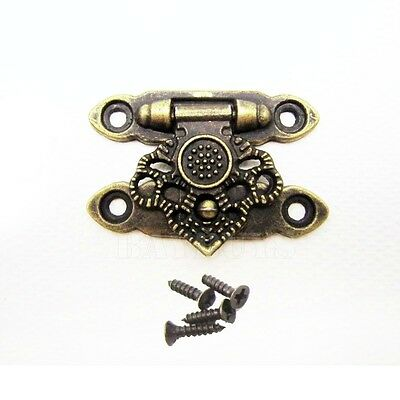 10x Vintage Cabin Cabinet Door Jewelry Box Latch Hook Solid Brass Hasp Lock Gate