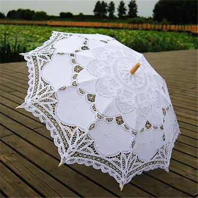 Fashion Wood Handed Lace Wedding Bridal Parasol Umbrella White for Party