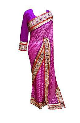 Net border Indian designer sarees wedding bollywood Party wear sari shop 7089 UK