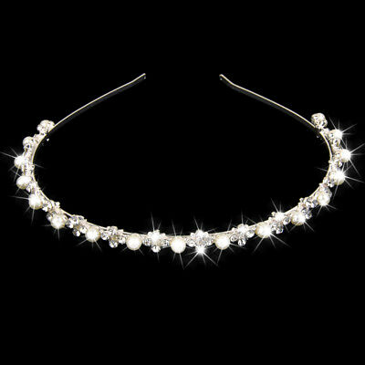 Rhinestone Flower Pearl Headband Hair Band Bridal Flower Girl Wedding Tiara