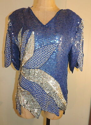 Wm's Vtg Royal Feelings M Short Sleeve Feathered Royal Blue Sequin Evening Top