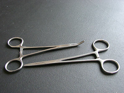 "2 TWO 5.5"" Hemostat Forceps CURVED & STRAIGHT Surgical"