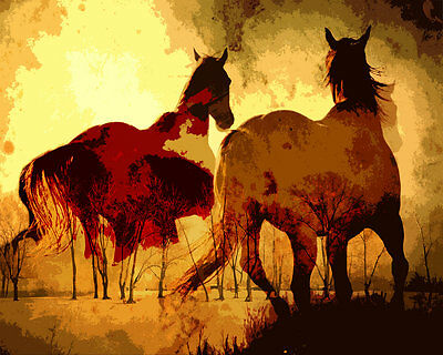 Modern Home Decor Prints oil painting art on canvas Wall Art abstract horse HD52