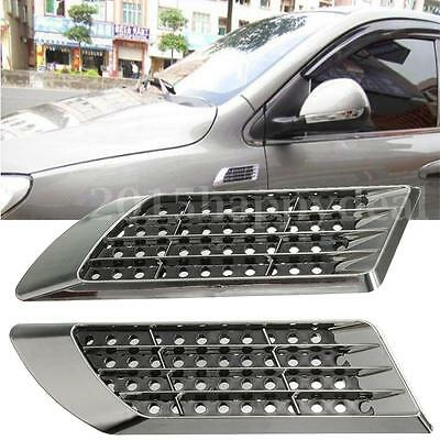 2 Car Side Air Vent Fender Cover Hole Intake Duct Flow Grille Decoration Sticker