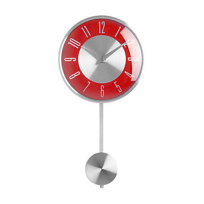 Pendulum Wall Clock Silver Red Face Analogue Clock Home Office Decor Brand New