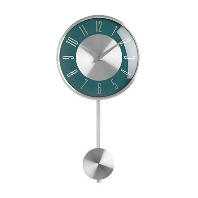 Pendulum Wall Clock Silver Blue Face Analogue Clock Home Office Decor Brand New