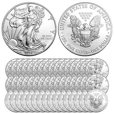 2016 1 oz Silver American Eagle Coins (BU, Lot of 50, New)