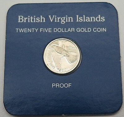 1983 $25 British Virgin Islands Franklin Mint 12K Gold Proof Token Coin Coa/Box