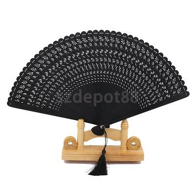 Vintage Chinese Black Dragonfly Carved Bamboo Folding Hand Held Fan Wedding