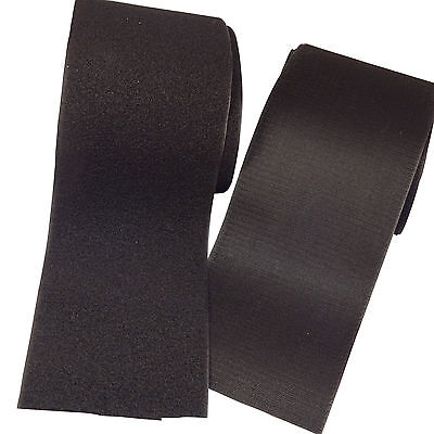 """BLACK 4"""" Sew-on Hook & Loop Tape Set SOLD BY THE FOOT (12 inch) ~ SHIPS FROM USA"""