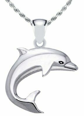 US Jewels And Gems Solid 0.925 Sterling Silver Kissing Dolphins Charm Pendant