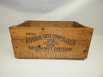 Vintage Republic Steel Upson Nut Division Wooden Wood Crate Box Old Cleveland