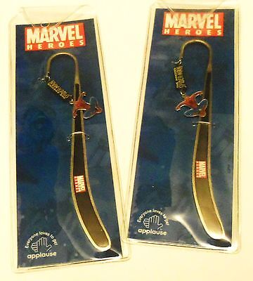 LOT of 2 Spiderman Metal Bookmarks NIP Made by Applause*