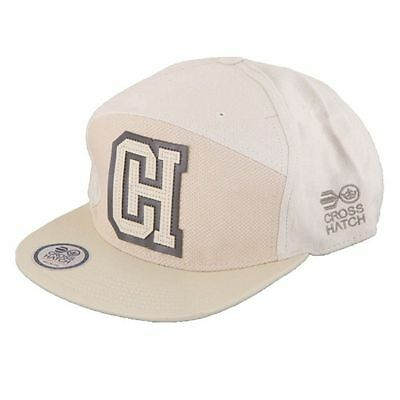 Mens Designer Crosshatch Retro Peak Snap Back Baseball Cap Hat - Cream
