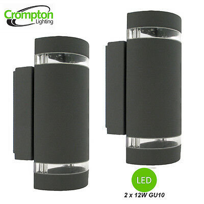 2 x LED Black Up/Down Wall Light with Light Bands - Crompton - Diecast Aluminium