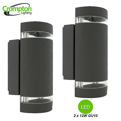 2 x LED Charcoal Up/Down Wall Light with Light Bands - Diecast Aluminium