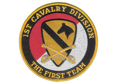 "1st Cavalry Division 5"" Embroidered Patch - Wax Backing, Merrowed The First Team"