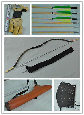 yellow Snake skin Hunting Longbow With 6 Wooden Arrows Finger Arm guard Quiver14