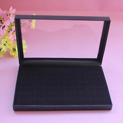 Practical 36 Slot Velvet Show Case Jewelry Rings Display Tray Storage Box Holder