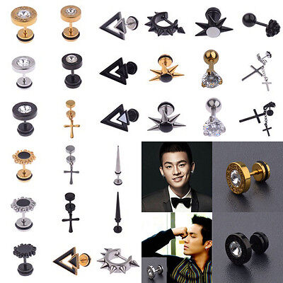 Fashion Gothic Cool Men's Punk Stainless Steel Crystal Piercing Ear Stud Earring