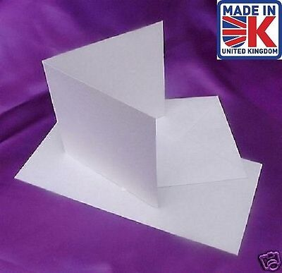 "1000  6"" x 6"" SQUARE WHITE 300gsm CARD BLANKS+ENVELOPES"