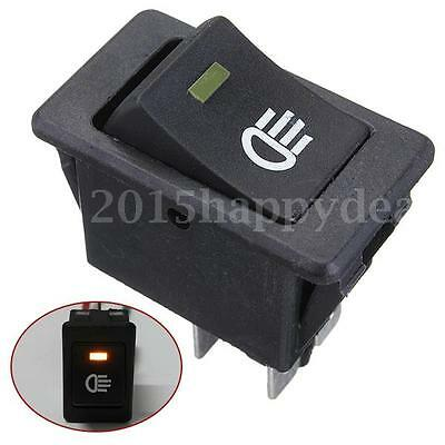 12V 35A 4 pin Universal Car Boat Fog Light LED Rocker Switch Dashboard Yellow