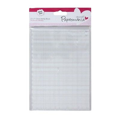 "Papermania clear acrylic stamp block 5"" x 7""  with gridlines"