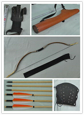 coffee pigskin Hunting Longbow With 6 Wooden Arrows Finger Arm guard Quiver 03