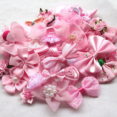 New 40PCS All Pink Assorted Ribbon Flowers Bows Appliques Craft Mix Lots