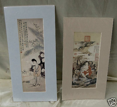 Matted Vintage Oriental Figures in Nature Hanging Scrolls w. Chinese Calligraphy