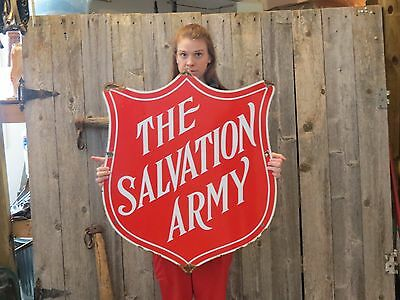 Vintage Salvation Army Porcelain Enameled Sign Retail Thrift Store Advertising