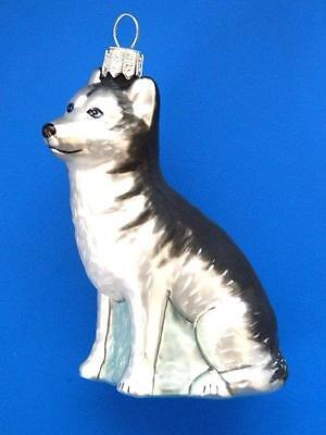 Husky Dog European Blown Glass Christmas Tree Ornament Decoration Hund Huskies