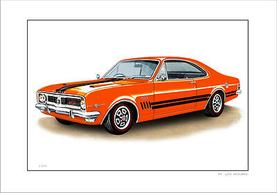 Holden  69 '  Ht  308  Gts Monaro   Limited Edition Car Print Automotive Drawing