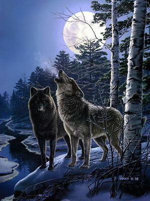 Art wall Home Decor prints oil painting canvas howling of the wolves Wolf my050