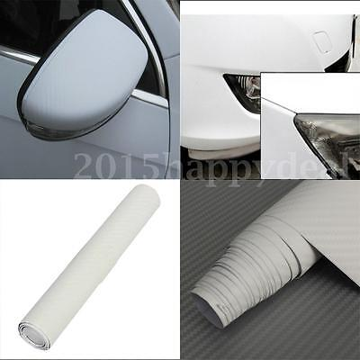 2m x 200mm 3D Carbon Fiber Vinyl Wrap Roll Film Sticker Car Bike Home Wall White