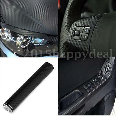 2m x 200mm 3D Carbon Fiber Vinyl Wrap Roll Film Sticker Car Bike Home Wall Black