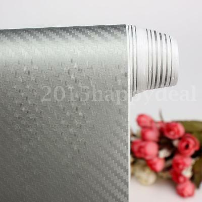 2m x 300mm 3D Carbon Fiber Vinyl Wrap Roll Film Sticker Decal Car Home Silver UK