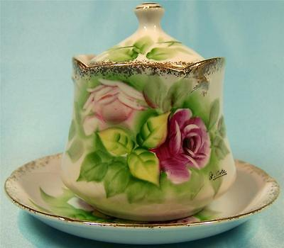 Royal Carlton Hand Painted Pot w Underplate Mustard Jam Signed RARE.