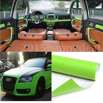 2m x 600mm 3D Carbon Fiber Vinyl Wrap Roll Film Decals Car Home Wallpaper Green