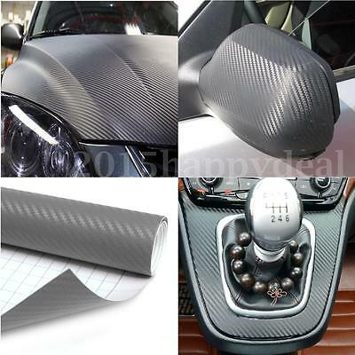 2m x 600mm 3D Carbon Fiber Vinyl Wrap Roll Film Decals Car Home Wallpaper Grey