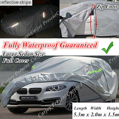Double Thick Anti Scratch Waterproof Zip Entry Safety Lock Car Cover Large Sedan
