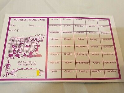 40 X Team Charity Football Fundraising Scratch Cards