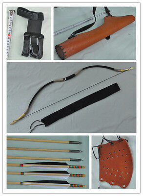 Black leather Hunting Longbow With 6 Wooden Arrows Finger Arm guard Quiver 15