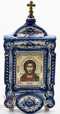 Russian Porcelain Gzhel Orthodox Shrine Kiot Icon Jesus Christ Cпас Оплечный