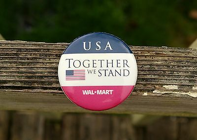 """Wal-Mart USA Together We Stand American Flag 2 1/4"""" Metal Pin Pinback Button"""