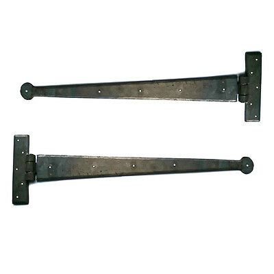 18 inch Penny Hand Forged Iron Tee Hinge Pair Strap T Hinge BEESWAX & BLACK UK