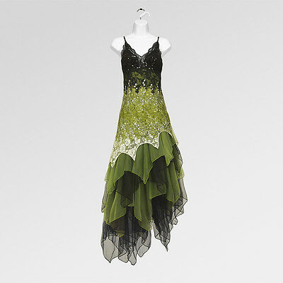 New 1920s gatsby vintage flapper lace sequin black green party maxi dress UK8-20
